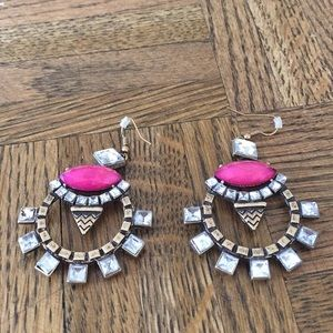 Bauble Bar pink, bronze and diamond earrings
